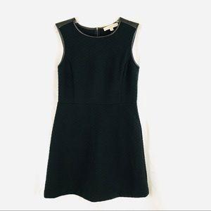 LOFT Black Quilted Faux Leather Trim Dress